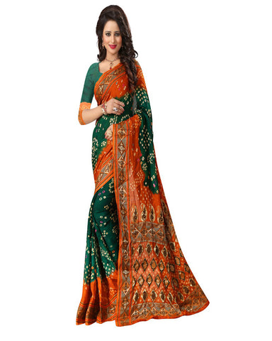 Green & Orange Silk Bandhej Saree