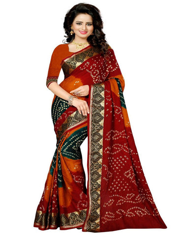 Red & Orange Silk Bandhej Saree