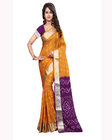 Yellow & Purple Bandhej Print Sarees