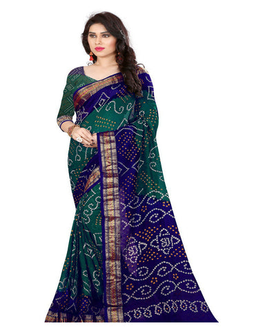 Blue & Sea Green Bandhej Print Sarees