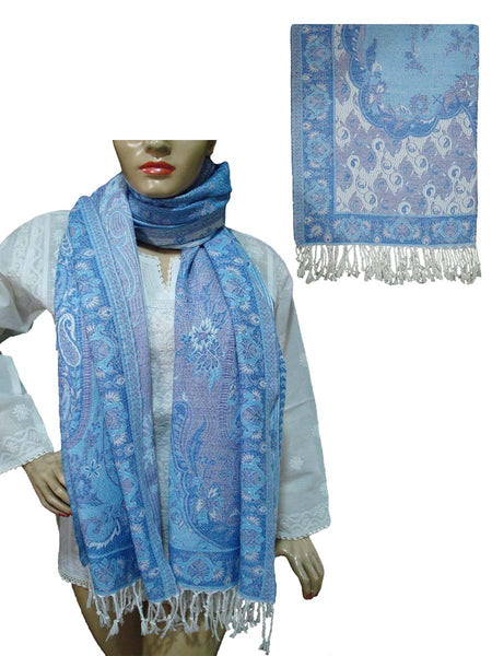 Hand Embroidered Blue Viscose Stole