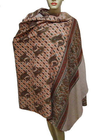Cashmere Embroidered Brown Shawl