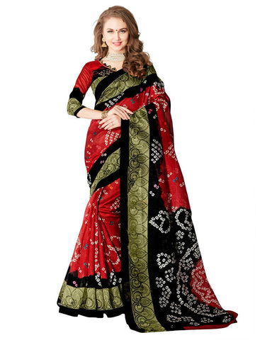 Red & Black Bandhej Print Sarees