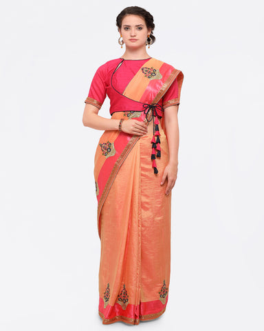 Peach-Coloured & Pink Poly Crepe Embroidered Saree