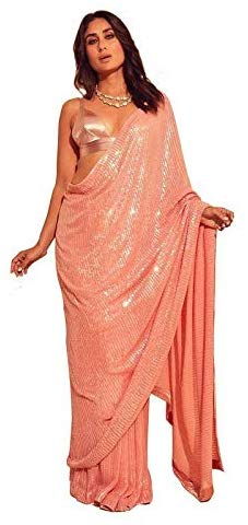 Kareena Kapoor Peach Color Heavy Georgette Embroidery Sequence Work Saree