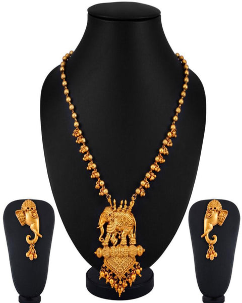 Elephant Matte Finished Necklace Set for Women