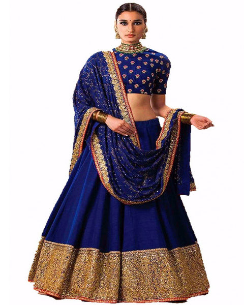 Blue And Gold Colour Lehenga Choli