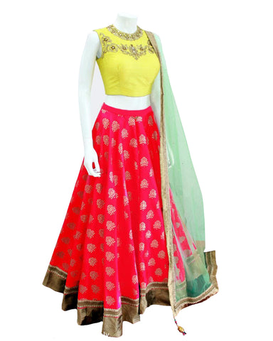 Delightful Red Designer Embroidered Lehenga Choli