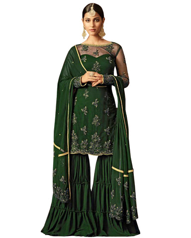 Capricious Green Colored Party Wear Embroidered Net Palazzo Suit