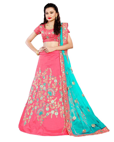 Lovely Pink Embroidered Festive Wear Tapetta Silk Lehenga Choli