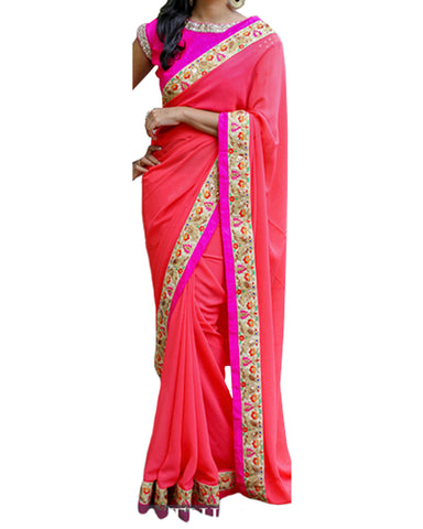 Designer Pink-Dark Peach Color Saree