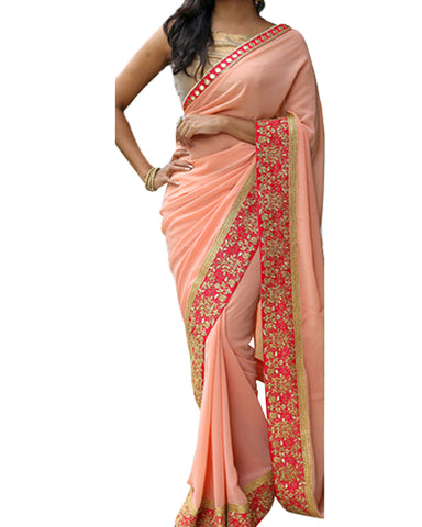 Designer Gold Peach Color Saree