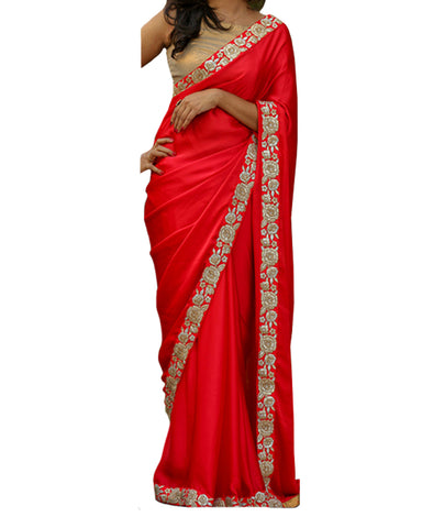 Designer Red-Gold Color Saree