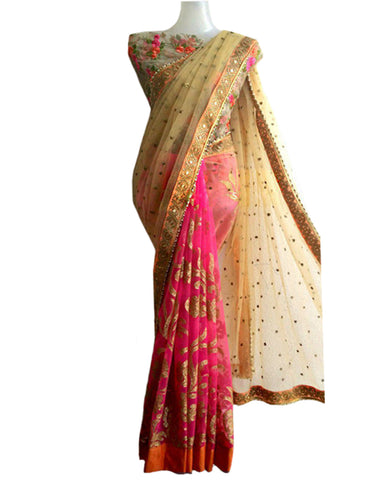 Designer Gold-Pink Color Saree