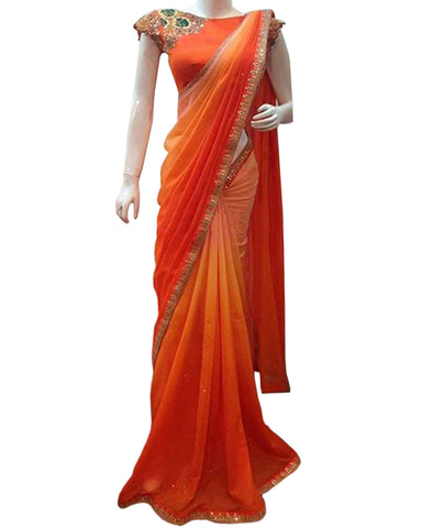 Designer Orange Color Saree
