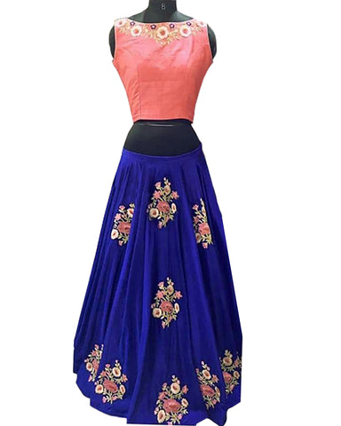 Designer Pink-Navy Color Lehenga Choli