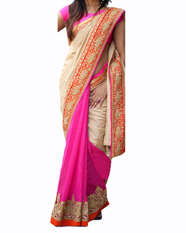 Designer Peach-Pink Color Saree