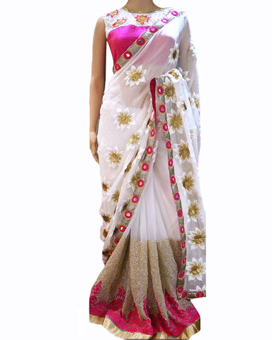 Designer White-Pink Color Saree