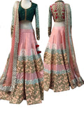 Pink-Green Color Designer Lehenga Choli