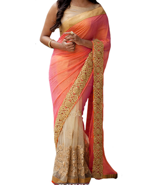 Designer Peach-Orange Color Saree
