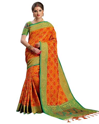 Kanchivaram Silk Saree In Orange And Green Colour