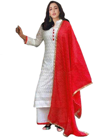 Cotton Chikan Red Suit