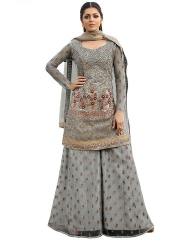 Grey Net Embroidered Palazzo Style Pakistani Suit