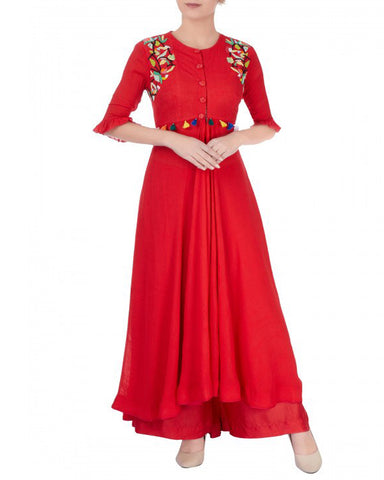Red Embroidered Palazzo Dress Women Suit Design