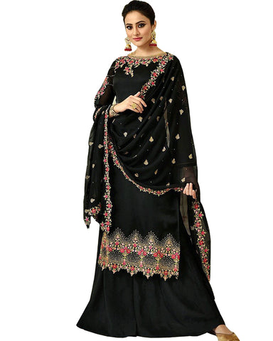 Black Palazzo Suit with Heavy Work Dupatta