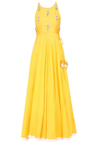 Yellow Designer Embroidered Taffeta Gown