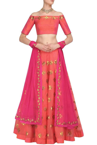 Peach And Pink Color Silk Gota Patti Lehenga