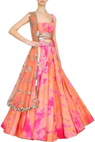 Orange & Pink Tie-Dye Lehenga