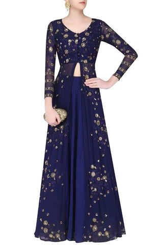 Georgette Long Dress In Blue Colour