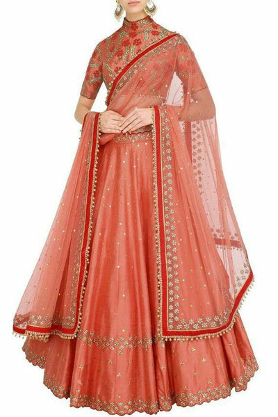 Dark Peach Color Designer Lehenga