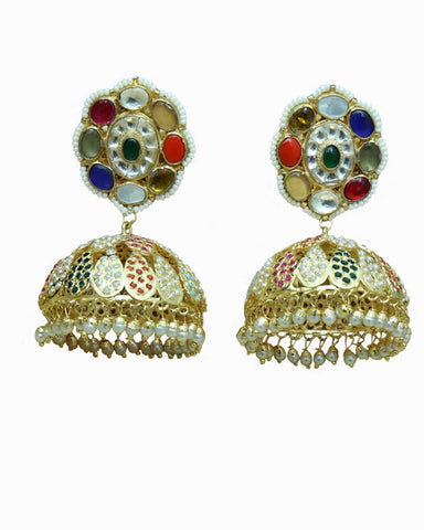 Multi Jadau & Jhumki Earrings