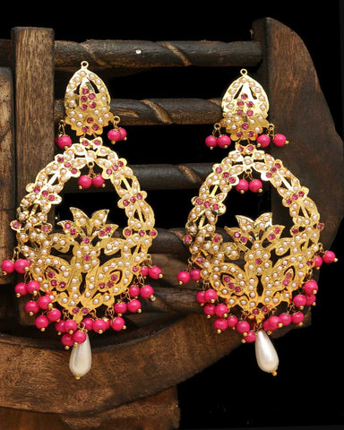 Pink Jadau Earrings