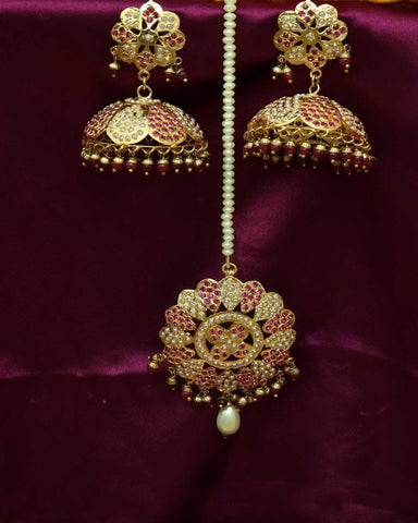 Pink Jadau Jhunki With Tikka Earrings