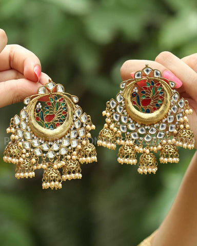 Kashish Gold Finished Rubby Panna Kundan Earrings