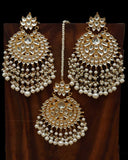 Golden Kundan Pearl Earring Tikka Set