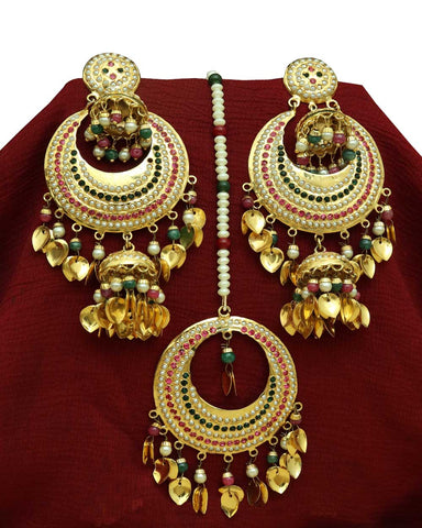 Multi Jadau Pippal Patti Earring Tikka Set By Punjabi Traditional Jewellery