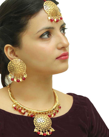 Hayam Gold Finished Rubby Patti Hasli Necklace,Tikka & Kundan Earrings