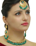 Hayat Gold Finished Emerald Hasli Necklace,Tikka & Earrings