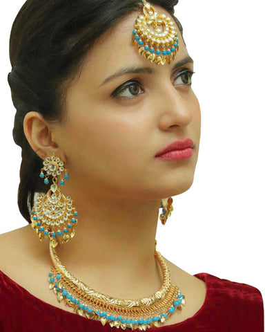Furayah firozi Pippal Patti Hasli Necklace,Kundan Tikka & Earrings