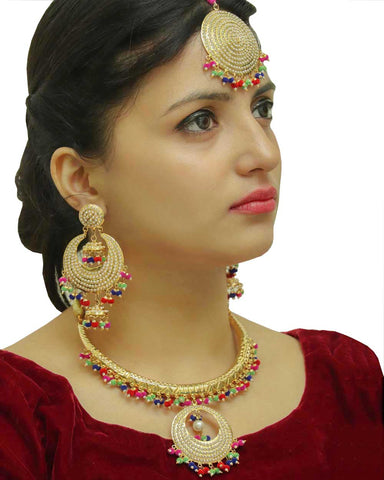 Gazala Gold Finished Navratan Hasli Necklace,Tikka & Earrings