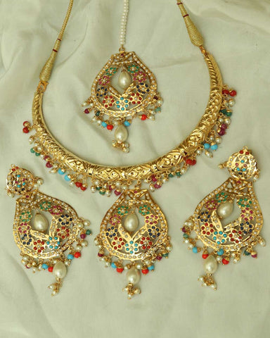 Hayam Gold Finished Navratan Hasli Necklace,Tikka & Earrings