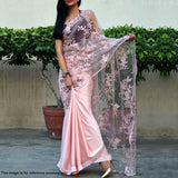 Pink Colored Partywear Embroidered Satin-Tissue Half-Half Saree
