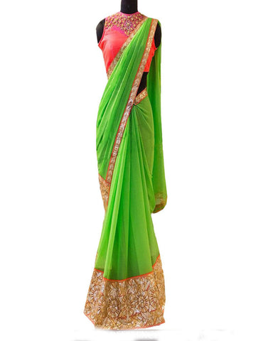 Green Georgette New Embroidery Work Saree