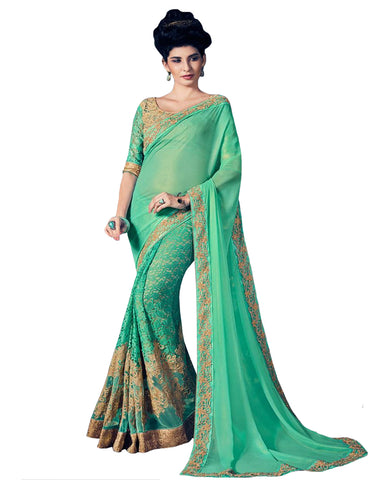 Green Paper Silk & Fancy Fabric Saree