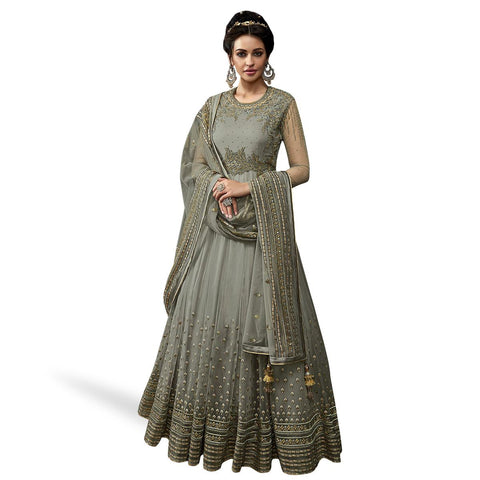 Grey Colored Partywear Embroidered Abaya Style Netted Anarkali Suit