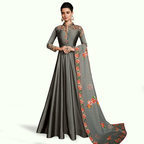 Grey Colored Partywear Embroidered Silk Abaya Style Anarkali Suit